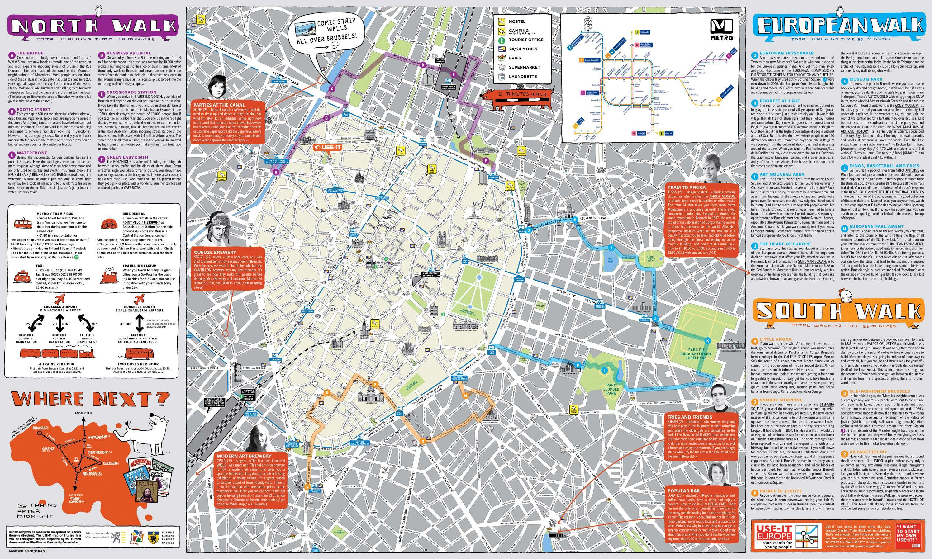Brussels city map tourist - Brüssel-Stadtplan mit Sehenswürdigkeiten ...