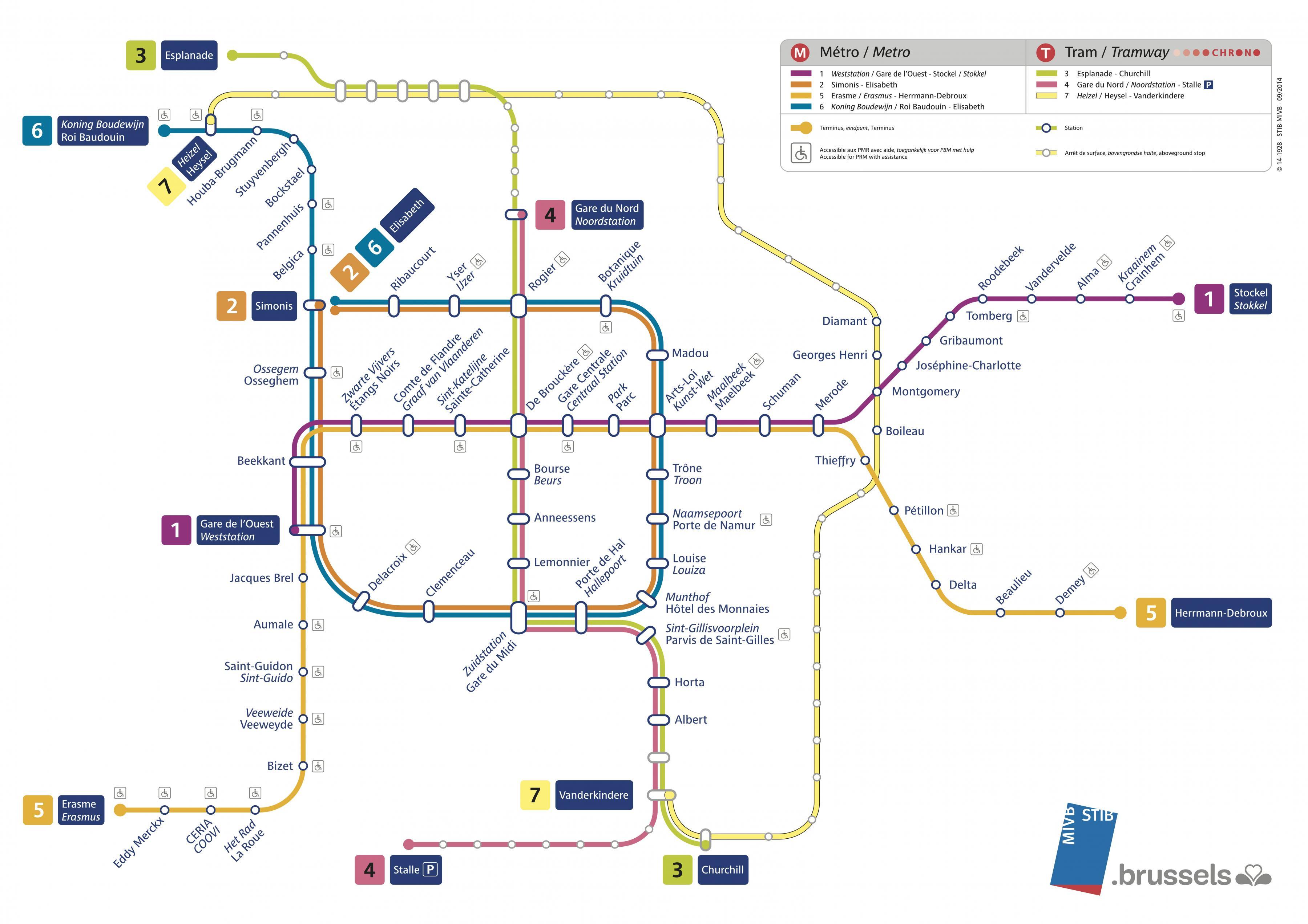 Bruxelles tram map - Brussels tram-Karte Englisch (Belgien)