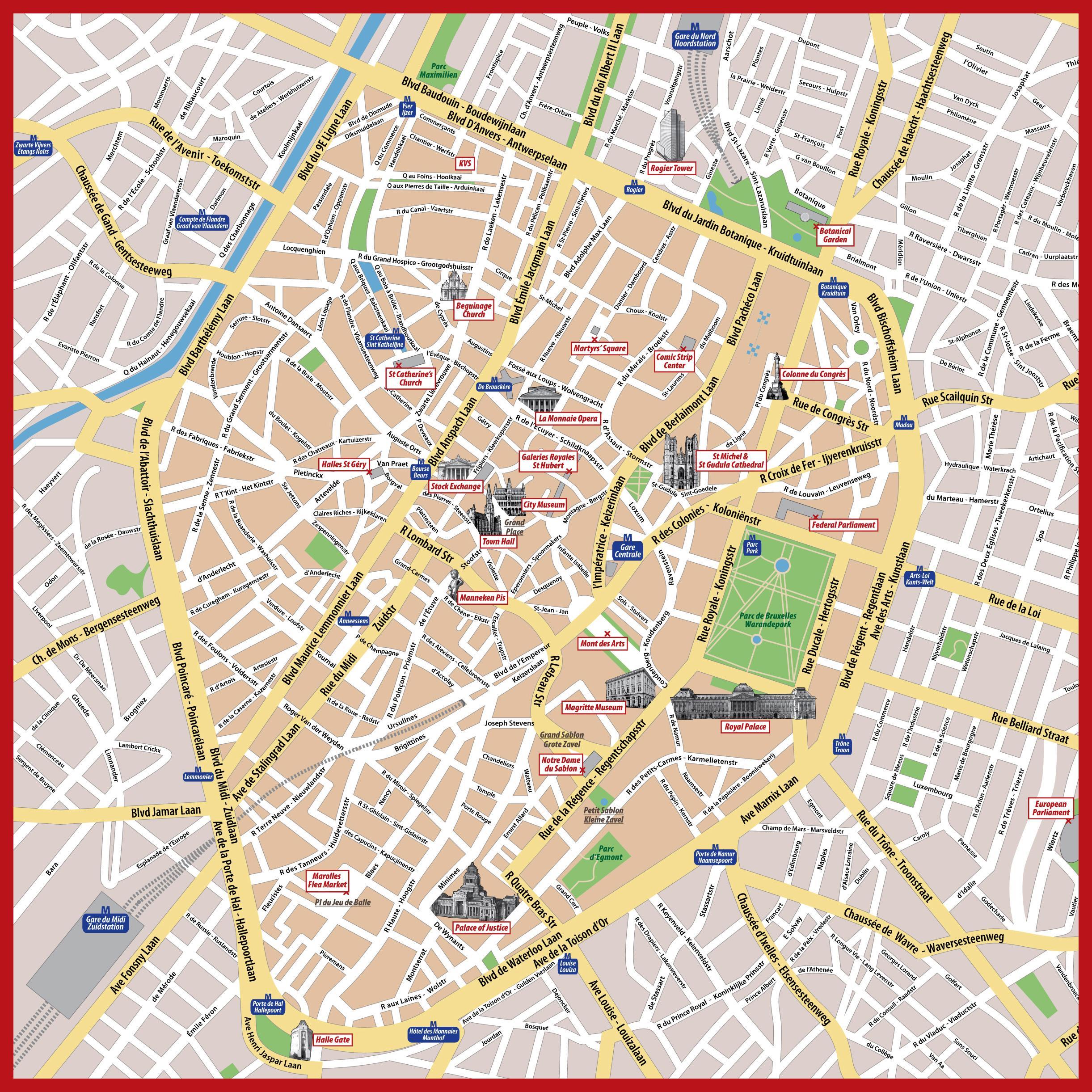 Brüssel Sehenswürdigkeiten Karte.Sehenswürdigkeiten In Brüssel Map Karte Von Brüssel Belgien